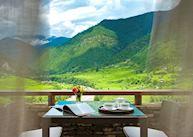 Tea on your terrace overlook the Punakha Valley at Uma Punakha