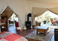 A luxury guest tent at Siwash Lake Wilderness Resort