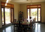 Indoor dining at Forsyths Lodge, Satpura National Park