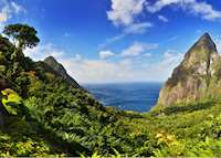 View of Pitons, Ladera, Saint Lucia