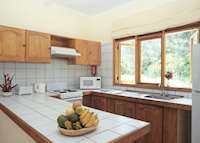 Kitchen of twin apartment, Les Villas D'Or, Praslin