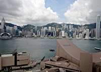 Hong Kong Island harbour view from Kowloon Island