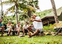 Coconut demonstration, Paradise Sun, Praslin