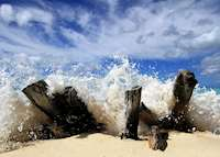 Crashing waves, Ffyres beach, Antigua by Chris Mole