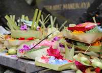 Offerings at a local temple in Bali
