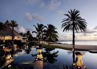 Stars restaurant and pool at sunset, Shanti Maurice, Mauritius