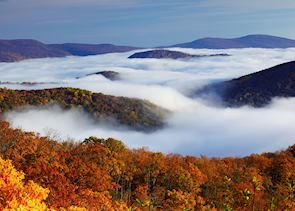 Mist amid the hills of Shenandoah National Park