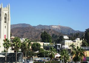 View of Hollywood Sign from Hollywood & Highland Centre, LA California