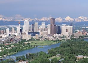 Calgary Skyline and the Rocky Mountains