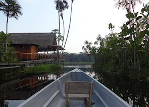 Departing Sacha Lodge by Paddle Canoe