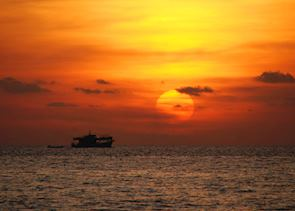 The beaches along Phu Quoc are great for orange sunsets, Vietnam