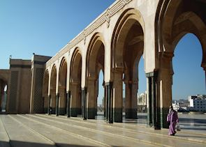 Woman outside the Hassan II mosque. Casablanca, Morocco