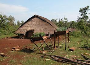 Pnong village houses, Sen Monorom, Cambodia