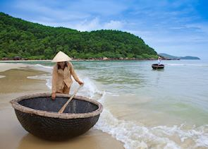 Coracle boats at Lang Co Beach, Central Vietnam