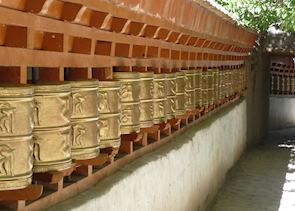 Prayer wheels at Alchi Choshkor