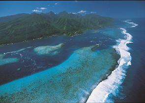 Aerial shot over Tahiti