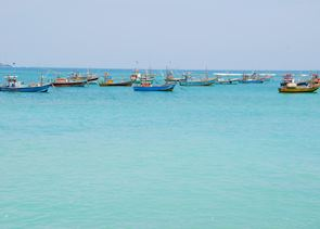 Fishing boats off the coast of Galle
