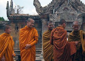 Buddhist monks outside the central sanctuary at Preah Vihear