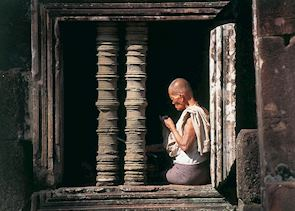 Khmer man resting at Angkor Wat