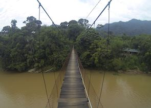 Walking across the bridge to Jungle Lodge, Tangkahan