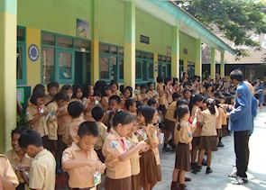Visiting a local primary school in Malang, Indonesia