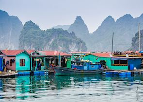 Floating village on Halong Bay, Vietnam