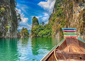 Longtail boat on Cheow Lan Lake, Khao Sok National Park