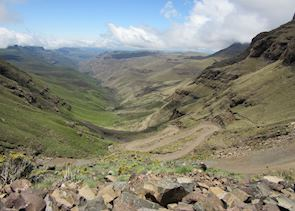 View looking back down the Sani Pass