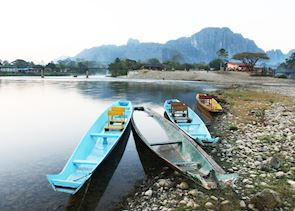 Local river boats, Vang Vieng, Laos