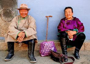 Old couple, Garden Temple in Ulaan Baatar