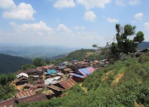 A view of Muang La from a hill top in a local Kamu Village