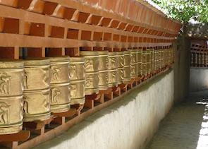 Prayer wheels at Alchi Choshkor
