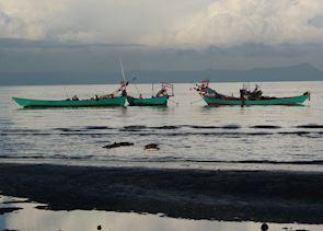 Fishing boats at sunrise, Kep, Cambodia