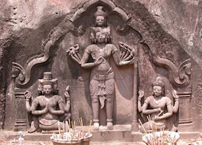 Temple detail at Wat Phou, Champasak, Laos