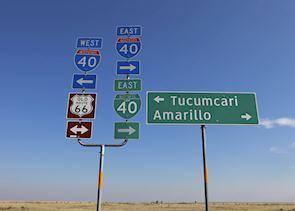 Route 66 road signs near Amarillo, Texas