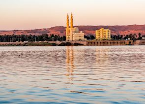 Mosque reflections at sunset on the Nile