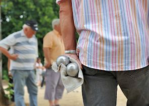 Locals playing pétanque, France