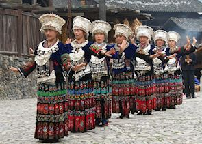 Miao festival dancers, Guizhou