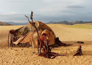 Himba settlement near Serra Cafema, Namibia