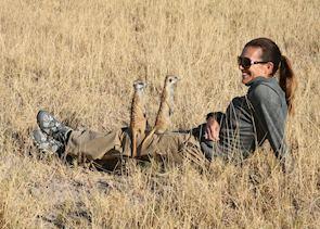 Visiting the meerkats, Makgadikgadi Pans