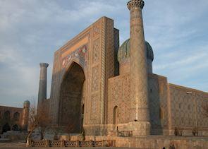 Sunset on the Sher Dor Madrassa, The Registan, Samarkand