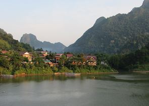 View from the bridge in Nong Khiaw of the Nam Ou River