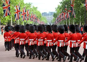 The Queen's Guard marching, London