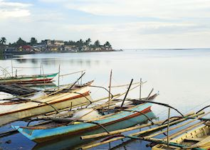 Fishing  boats moored in Donsol, Philippines