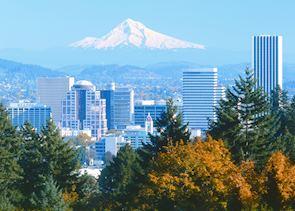 Portland, Oregon, overlooked by Mount Hood