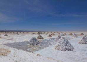 Salt Processing near Luna Salada, Bolivia