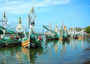 Boats around Perancak near Medewi, Indonesia