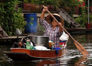 Rural floating markets are a great way of observing river life, Amphawa