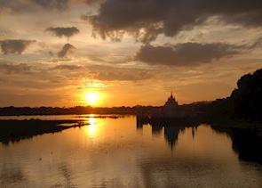 The view from U Bein's teak bridge, Mandalay, Burma (Myanmar)