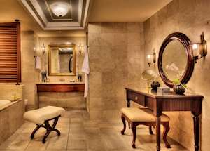 Colonial Ocean Front Suite bathroom, The Residence, Mauritius